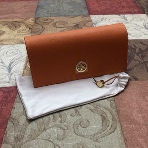 Tory Burch Orange eyeglass sunglass case & pouch